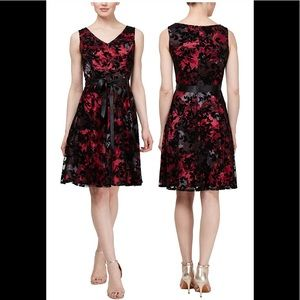 Sl fashion floral midi dress black pink NWT